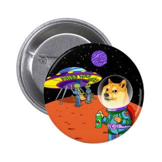 Dux Astro de Shibe y el dibujo animado de los Pin Redondo De 2 Pulgadas