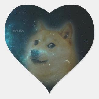 dux del shibe en espacio pegatina en forma de corazón