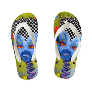 "Dwainizms Colorful ""Blue Man"" Kids' Flip Flops"