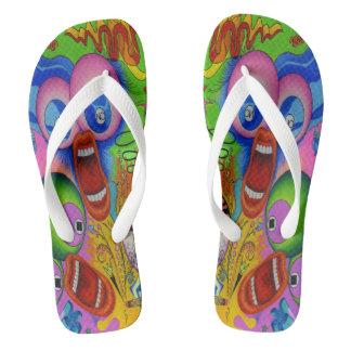 """Dwainizms """"OH NO!"""" Colorful Adult Flip Flops"""