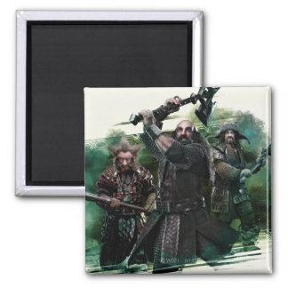 Dwalin, Nori, & Bofur Graphic 2 Inch Square Magnet