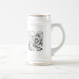dwarf and dragon lineart beer stein