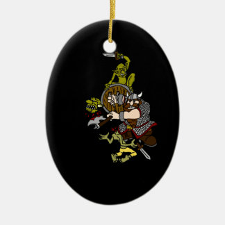 Dwarf And Goblins With Black Background Ceramic Ornament