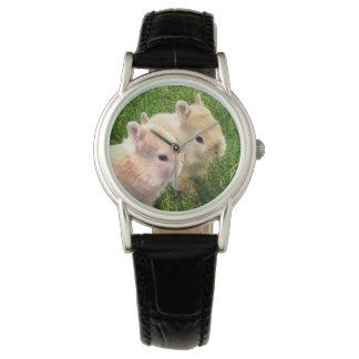 Dwarf_Bunnies_Black_Leather_Watch Relojes