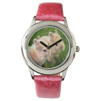 Dwarf_Bunnies_Pink_Girls_Glitter_Watch Relojes