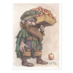 Dwarf carrying apples postcard