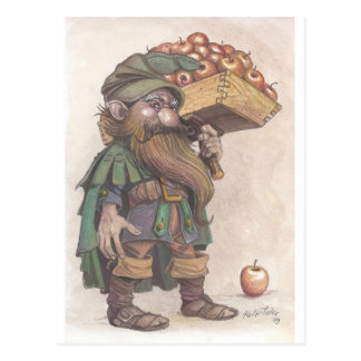 Dwarf carrying apples post cards
