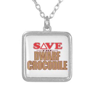 Dwarf Crocodile Save Square Pendant Necklace
