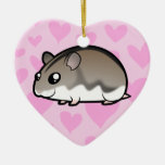 Dwarf Hamster Love Double-Sided Heart Ceramic Christmas Ornament