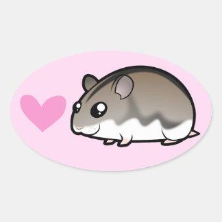 Dwarf Hamster Love Oval Sticker