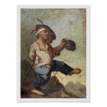 Dwarf Holding a Jug (oil on canvas laid down on pa Poster