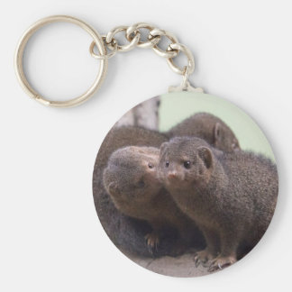 Dwarf Mongoose Kiss Basic Round Button Keychain