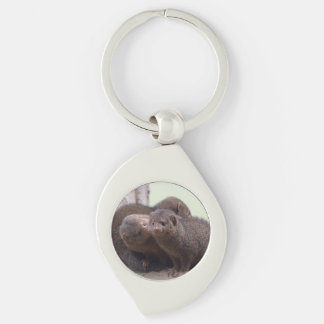 Dwarf Mongoose Kiss Silver-Colored Swirl Metal Keychain