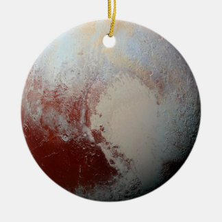 Dwarf Planet Pluto by NASA New Horizons 2015 Photo Double-Sided Ceramic Round Christmas Ornament