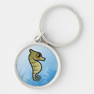 Dwarf Seahorse Silver-Colored Round Keychain