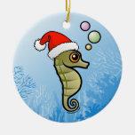Dwarf Seahorse Santa Ceramic Ornament
