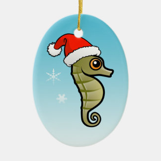 Dwarf Seahorse Santa Double-Sided Oval Ceramic Christmas Ornament