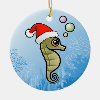 Dwarf Seahorse Santa Double-Sided Ceramic Round Christmas Ornament