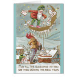Dwarves with Sacks of Gold Vintage New Year Greeting Cards