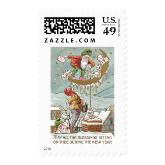 Dwarves with Sacks of Gold Vintage New Year Postage Stamp