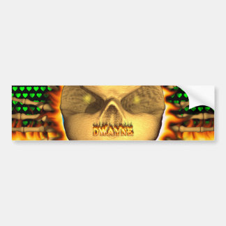 Dwayne skull real fire and flames bumper sticker d