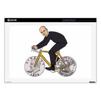 "Dwight Eisenhower On Bike With Dollar Coin Wheels 17"" Laptop Decals"