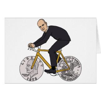 Dwight Eisenhower On Bike With Dollar Coin Wheels Card
