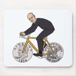 Dwight Eisenhower On Bike With Dollar Coin Wheels Mouse Pad