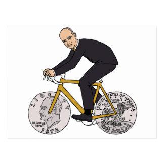 Dwight Eisenhower On Bike With Dollar Coin Wheels Postcard