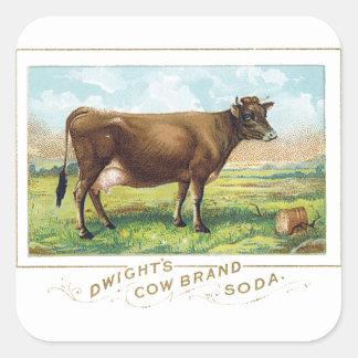 Dwight's Cow Brand Soda Square Sticker