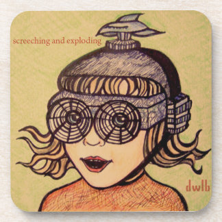 "dwlb ""Screeching and Exploding"" cover art coasters"
