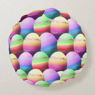 Dyed Easter Eggs Pattern Round Pillow