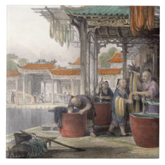 Dyeing and Winding Silk, from 'China in a Series o Ceramic Tile
