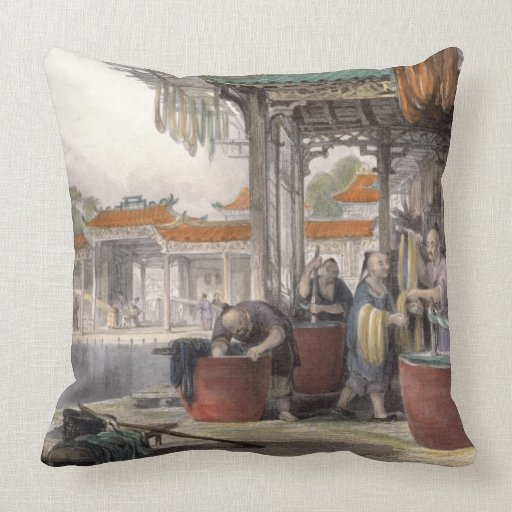 Dyeing and Winding Silk, from 'China in a Series o Pillows
