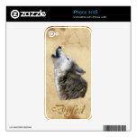 DYFED Howling Grey Wolf  Wildlife iPhone 4 Skin