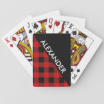 "DYI BG, Black Buffalo Plaid 2 Bold Triangles Diag Playing Cards<br><div class=""desc"">Black Pattern with 2nd Color of Your Choice Buffalo Plaid Check Tartan (initially set to red), 2 Bold Triangles with Diagonal Name Monogram A stylish and bold 2 triangle design with with your name or other text on the diagonal. The Black Triangle color is set, but you can choose the...</div>"