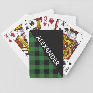 DYI BG Blk Buffalo Plaid 2 Bold Triangles Diag Grn Playing Cards