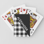 """DYI BG Blk Buffalo Plaid 2 Triangles Diag White Playing Cards<br><div class=""""desc"""">Black Pattern with 2nd Color of Your Choice Buffalo Plaid Check Tartan (initially set to white), 2 Bold Triangles with Diagonal Name Monogram A stylish and bold 2 triangle design with with your name or other text on the diagonal. The Black Triangle color is set, but you can choose the...</div>"""