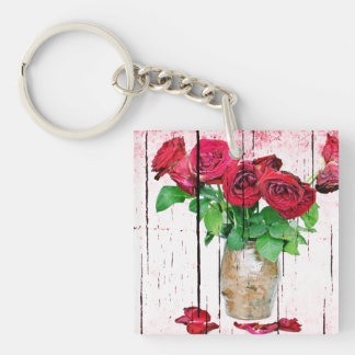 Dying Red Roses Keychain
