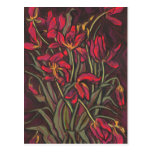 Dying Tulips Red Flowers Statement Floral Painting Postcard