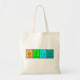 Dylan periodic table name tote bag