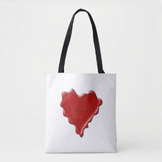 Dylan. Red heart wax seal with name Dylan Tote Bag