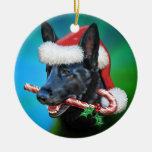 Dylan, The Black German Shepherd Double-Sided Ceramic Round Christmas Ornament