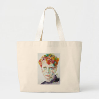 dylan thomas - watercolor portrait.1 large tote bag