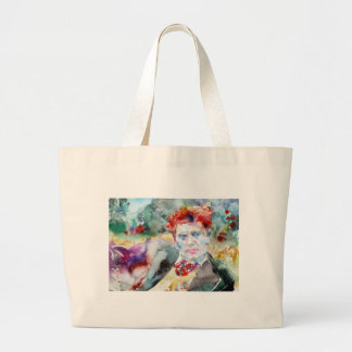 dylan thomas - watercolor portrait.2 large tote bag