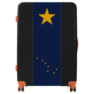 Dynamic Alaska State Flag Graphic on a Luggage