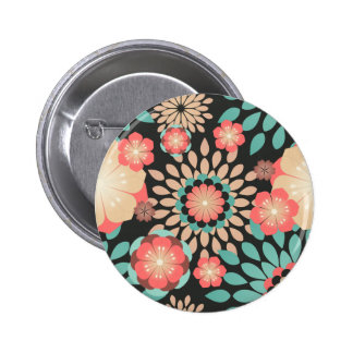 Dynamic blooming floral pattern on dark background button
