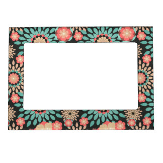 Dynamic blooming floral pattern on dark background magnetic photo frame
