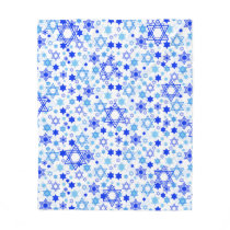 Dynamic Blue Stars of David Pattern Hanukkah Fleece Blanket