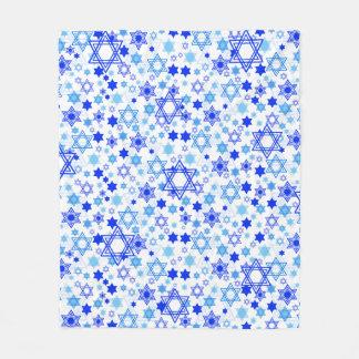 Dynamic Blue Stars of David Pattern Hanukkah Fleece Blanket